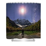 The Milky Way And Waxing Cresent Moon Shower Curtain