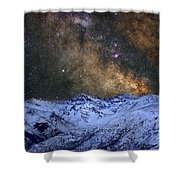 The Milky Way Over The High Mountains Shower Curtain
