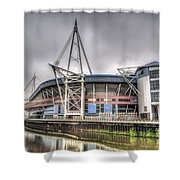 The Millennium Stadium With Flag Shower Curtain