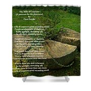 The Mills Of Corporate - Poem And Image Shower Curtain