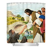 The Miracles Of Jesus  Making The Lame Man Walk Shower Curtain