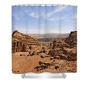 The Monastery And Landscape At Petra In Jordan Shower Curtain by Robert Preston