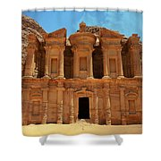 The Monastery At Petra Shower Curtain
