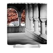 The Monastery In Autumn Shower Curtain