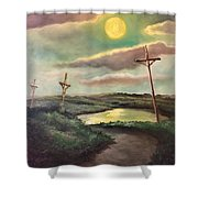 The Moon With Three Crosses Shower Curtain