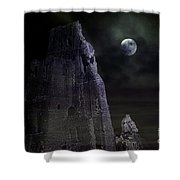 The Moonshine On The Castle Shower Curtain by Terri Waters