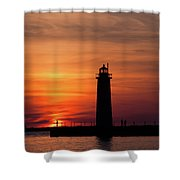 The Muskegon Lighthouse An A Lone Man Fishing Shower Curtain