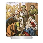 The Nativity Shower Curtain by English School
