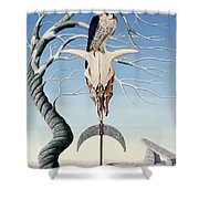 The Neolithic Totem Oil On Canvas Shower Curtain