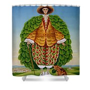 The New Vestments Ivor Cutler As Character In Edward Lear Poem, 1994 Oils And Tempera On Panel Shower Curtain