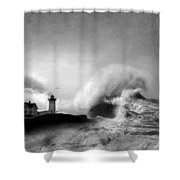 The Nubble In Trouble Shower Curtain by Lori Deiter