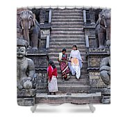 The Nyatapola Temple At Bhaktapur In Nepal Shower Curtain