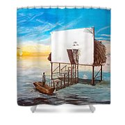 The Occult Listen With Music Of The Description Box Shower Curtain by Lazaro Hurtado