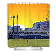 The Old And New Yankee Stadiums Side By Side At Sunset Shower Curtain