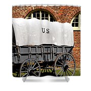 The Old Army Wagon Shower Curtain