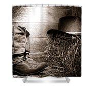 The Old Boots Shower Curtain