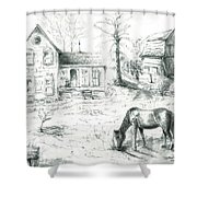 The Old Horse Farm Shower Curtain