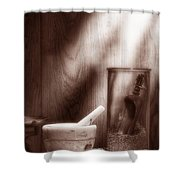 The Old Lavender Artisan Shop In Sepia Shower Curtain