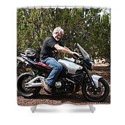 The Old Man On The Motorcycle Shower Curtain