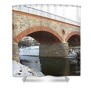 The Old Railway Bridge In Silute. Lithuania. Winter Shower Curtain