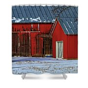 The Old Red Barn In Winter Shower Curtain