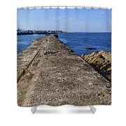 The Old Shipyard Pier Shower Curtain