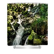 The Old Troll Caught By The Sun Admiring The Forest Waterfall Shower Curtain