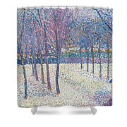 The Orchard Under The Snow  Shower Curtain by Hippolyte Petitjean