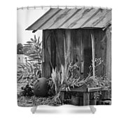 The Outhouse Bw Shower Curtain