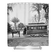 The Palm Beach Trolley Shower Curtain