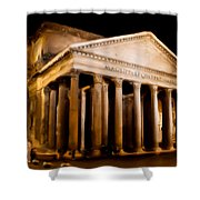 The Pantheon At Night - Painting Shower Curtain