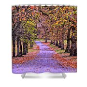 The Park In Autumn Shower Curtain