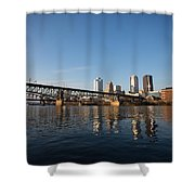 The Pass Shower Curtain by Jimmy Taaffe