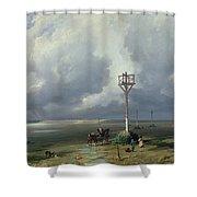 The Passage Du Gois At Noirmoutier, 1859 Oil On Canvas Shower Curtain