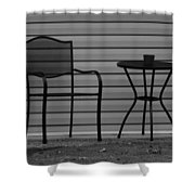 The Patio Chairs In Black And White Shower Curtain