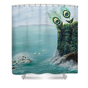 The Peacock Cliffs Shower Curtain