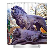 The Philadelphia Zoo Lion Statue Shower Curtain