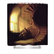 The Philosopher In Meditation Shower Curtain