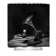 The Phonograph 4 Mono Shower Curtain