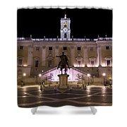 The Piazza Del Campidoglio At Night Shower Curtain