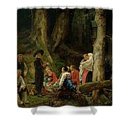 The Pilgrims From The Abbey Of St. Odile Oil On Canvas Shower Curtain