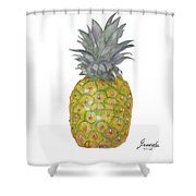 The Pineapple On White Shower Curtain