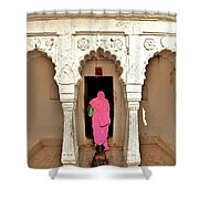 The Pink Sari Shower Curtain