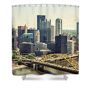 The Pittsburgh Skyline Shower Curtain by Lisa Russo