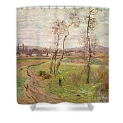 The Plain At Gennevilliers Shower Curtain by Claude Monet