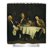The Poet Alexis Piron 1689-1773 At The Table With His Friends, Jean Joseph Vade 1720-57 And Charles Shower Curtain