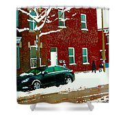 The Point Pointe St Charles Snowy Walk Past Red Brick House Winter City Scene Carole Spandau Shower Curtain