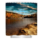 The Pool Below Upper Falls Rumford Maine Shower Curtain by Bob Orsillo