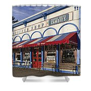 The Popcorn Shop Shower Curtain by Dale Kincaid