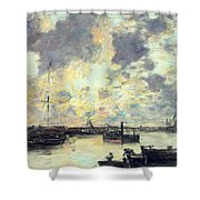 The Port Shower Curtain by Eugene Louis Boudin